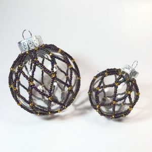 Purple and Gold Beaded Baubles